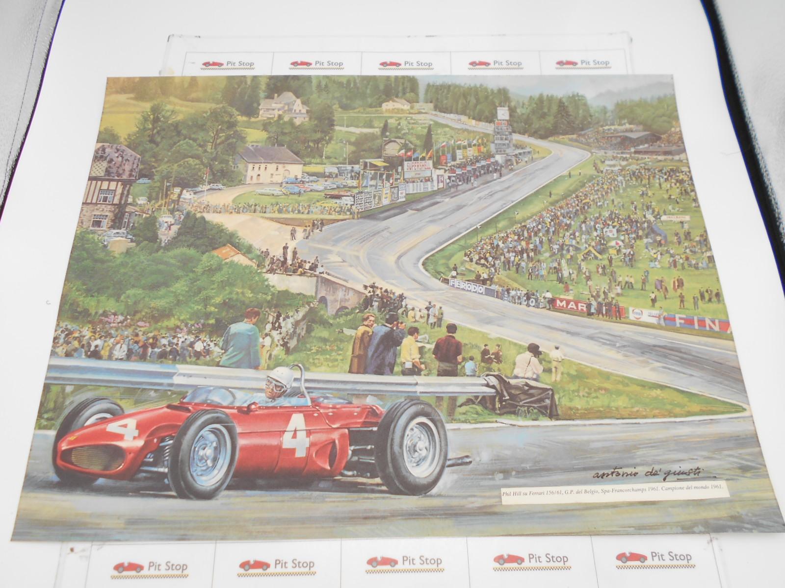 Ferrari litografia P. Hill su Ferrari 156/61 Spa-Francorchamps 1961