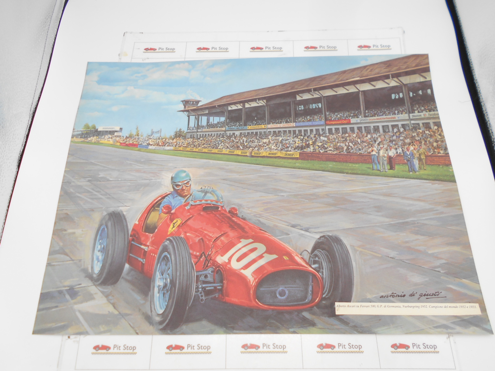 Ferrari litografia A. Ascari su Ferrari 500, Nurburgring 1952